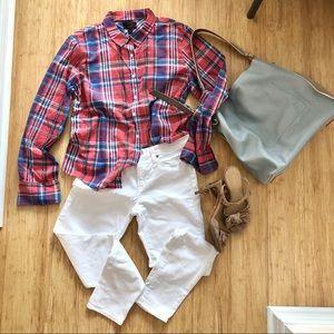 J. Crew Perfect Red Blue Plaid Cotton Light shirt